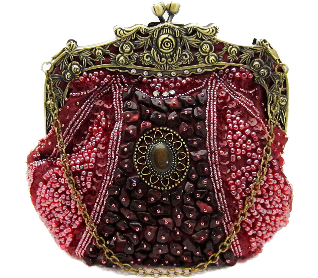 Vintage Style Beaded Handbag - Burgundy Red