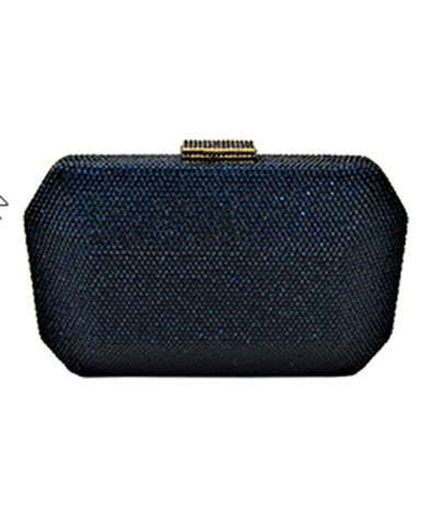 Anthony David Satin Crystal Evening Bag - Navy Blue