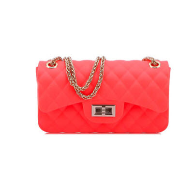 Quilted Small Jelly Shoulder Purse - Neon Coral