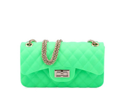 Quilted Medium Jelly Purse - Neon Green