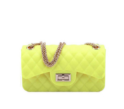 Quilted Medium Jelly Purse - Neon Yellow