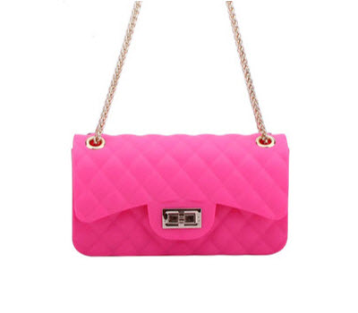 Quilted Small Jelly Shoulder Purse - Neon Pink
