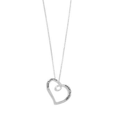 "Sterling Silver ""you hold my heart forever"" Necklace"