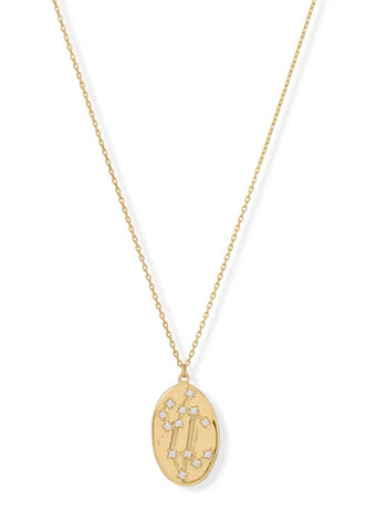 14K Gold & Sterling Silver Leo Zodiac Necklace
