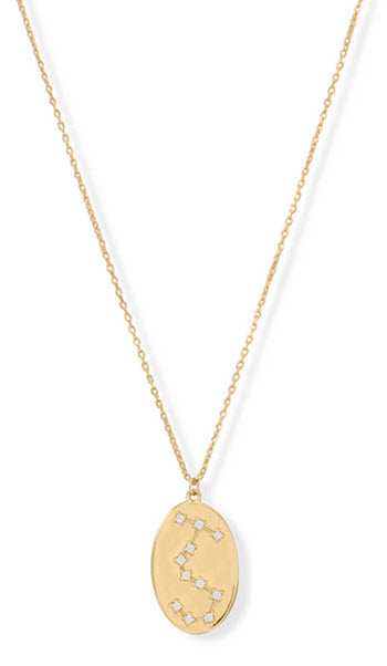 14K Gold & Sterling Silver Scorpio Zodiac Necklace