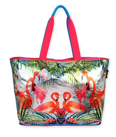 Coated Foil Tropical Beach Bag Tote - Flamingo