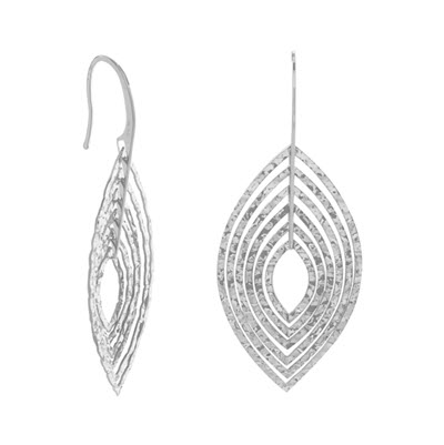 Sterling Silver 3D Marquise Earrings
