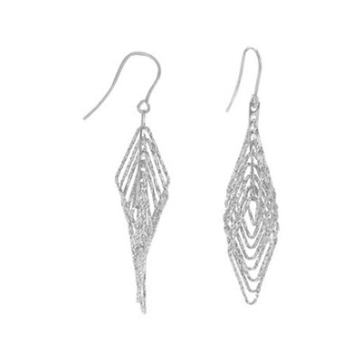 Sterling Silver 3D Diamond Cut Earrings