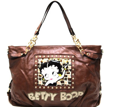 Betty Boop Tote Style Shoulder Purse - Brown