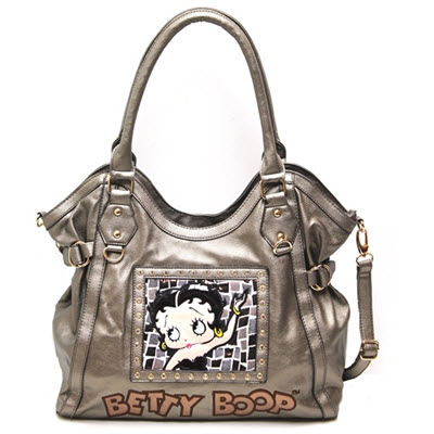 Betty Boop Leather Shoulder Purse - Pewter Bronze