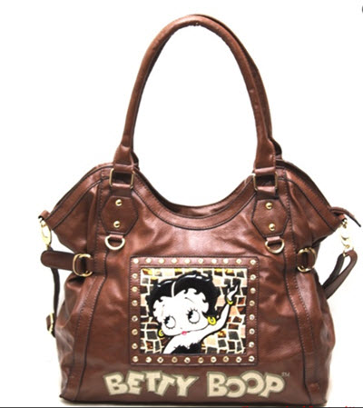 Betty Boop Leather Shoulder Purse - Brown