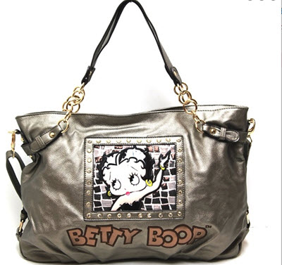 Betty Boop Tote Style Shoulder Purse - Pewter Bronze
