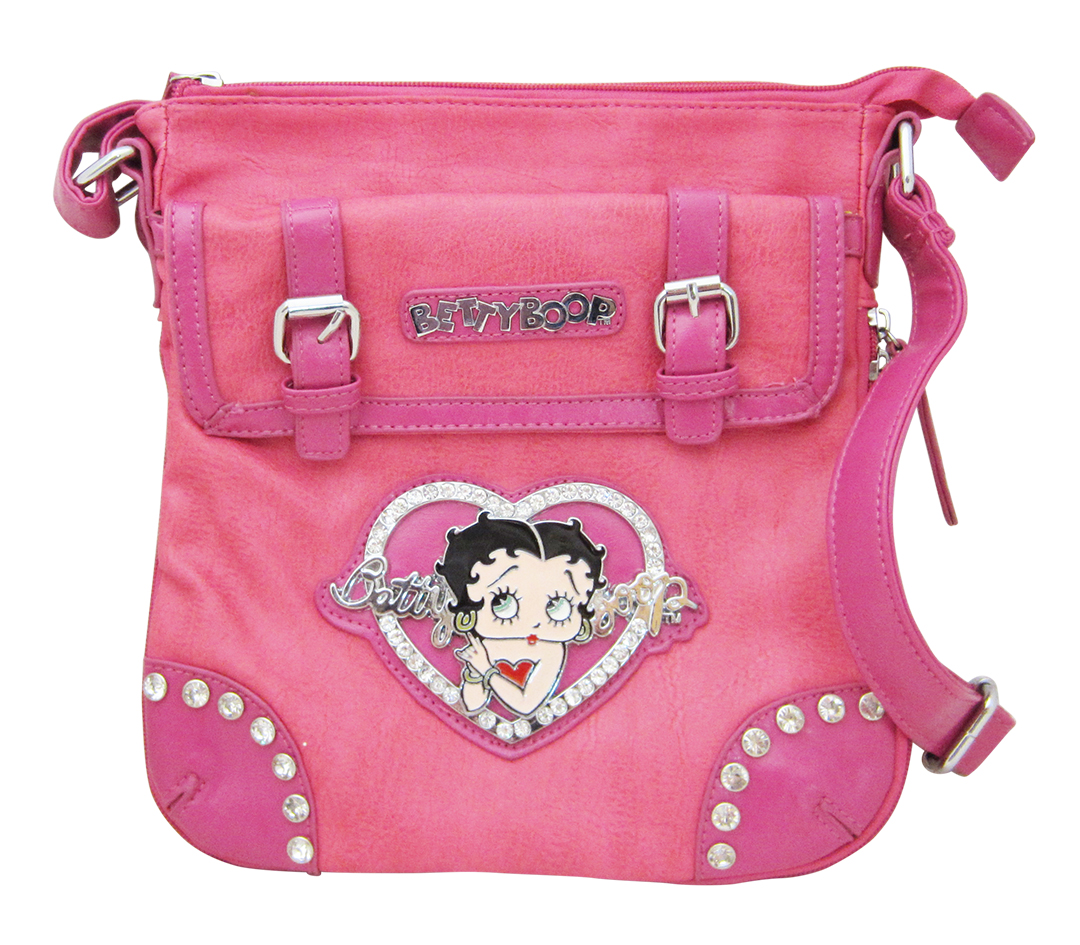 Betty Boop Leather Hip Cross Body Purse - Pink