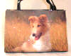 Collie Puppy Dog Purse Handbag Crystal Beaded Square