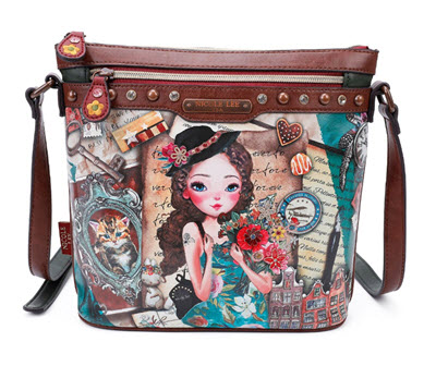 Nicole Lee Vintage Emily Travels Europe Crossbody Purse