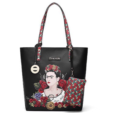 Frida Kahlo Floral Bounty Tote Style Purse - Black