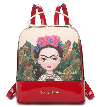 Frida Kahlo Cartoon Series Backpack - Red