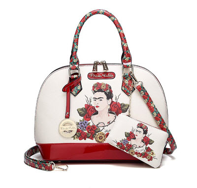 Frida Kahlo Floral Bounty Dome Satchel Purse - White/Red