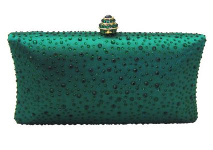 Anthony David Satin Crystal Clutch Purse - Emerald Green