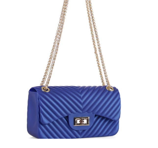 Chevron Embossed Jelly Purse - Royal Blue