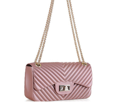 Chevron Embossed Jelly Purse - Rose Gold Pink