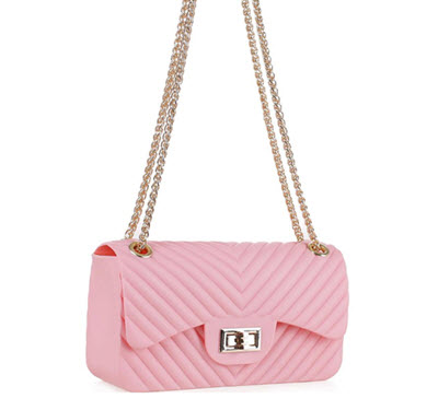 Chevron Embossed Jelly Purse - Blush Pink