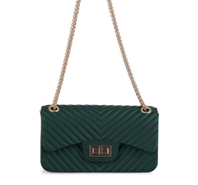 Chevron Embossed Jelly Purse - Dark Green