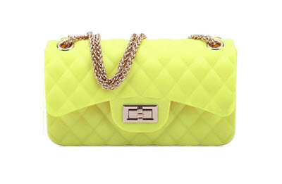 Quilted Small Jelly Shoulder Purse - Neon Yellow