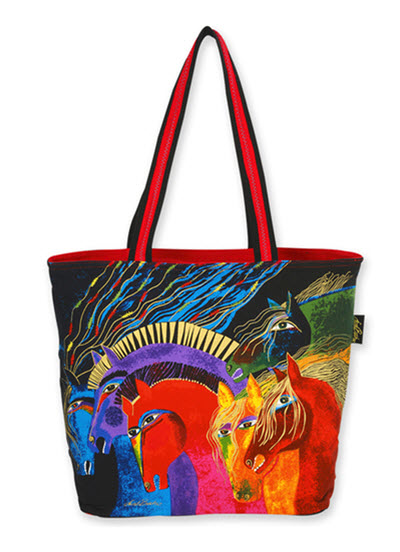 Artist Laurel Burch Beach Bag Tote - Wild Horses