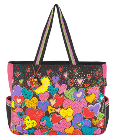 Artist Laurel Burch Beach Bag Tote - Dancing Hearts