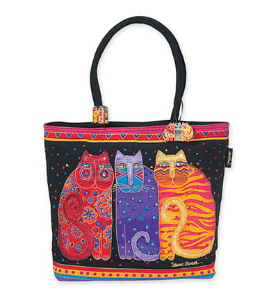 Artist Laurel Burch Fashion Beach Bag - Flowering Cats