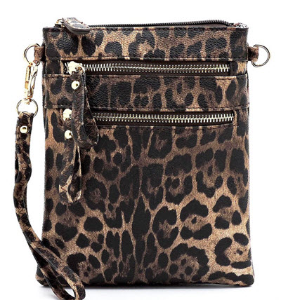 Leopard Wristlet Style Crossbody Purse