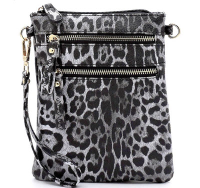 Leopard Wristlet Style Crossbody Purse - Black