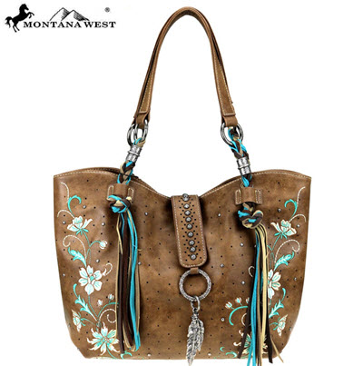 Montana West Vegan Leather Tote Purse - Light Brown