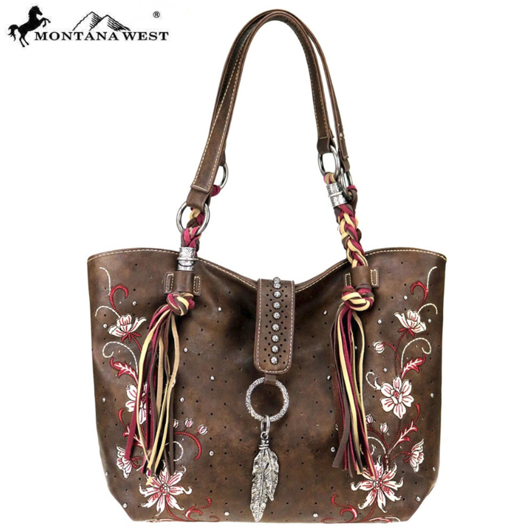 Montana West Vegan Leather Tote Purse - Brown