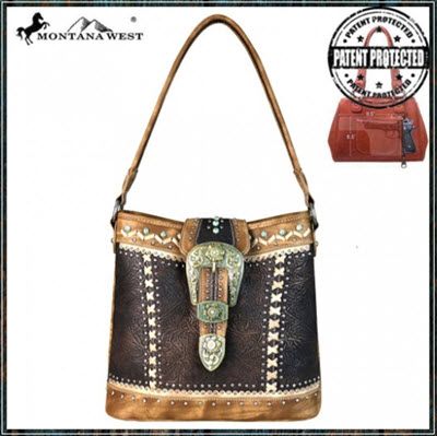 Montana West Brown Buckle Shoulder Purse