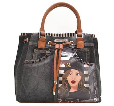 Nicole Lee Blue Jean Denim Satchel Purse