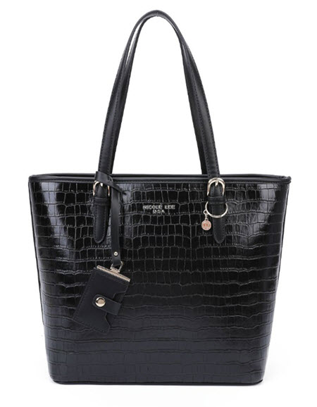 Nicole Lee Black Vegan Leather Tote Style Purse