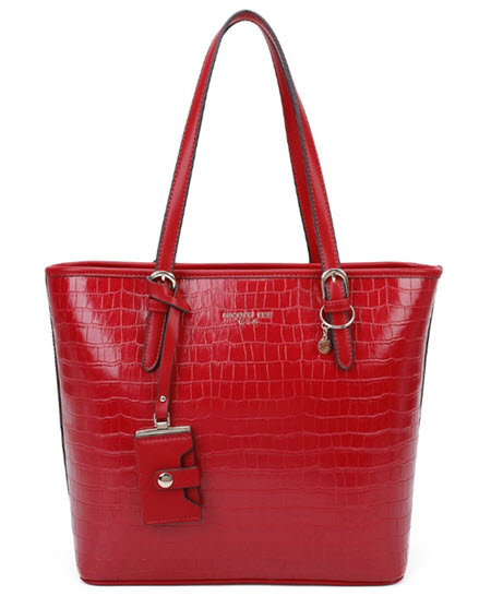Nicole Lee Red Vegan Leather Tote Style Purse