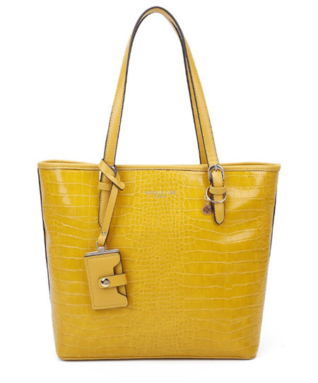 Nicole Lee Yellow Vegan Leather Tote Style Purse