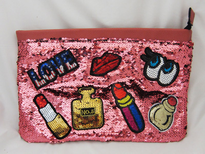 Trendy Pink Sequins Love Clutch Purse - Pink