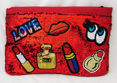 Trendy Pink Sequins Love Clutch Purse - Red