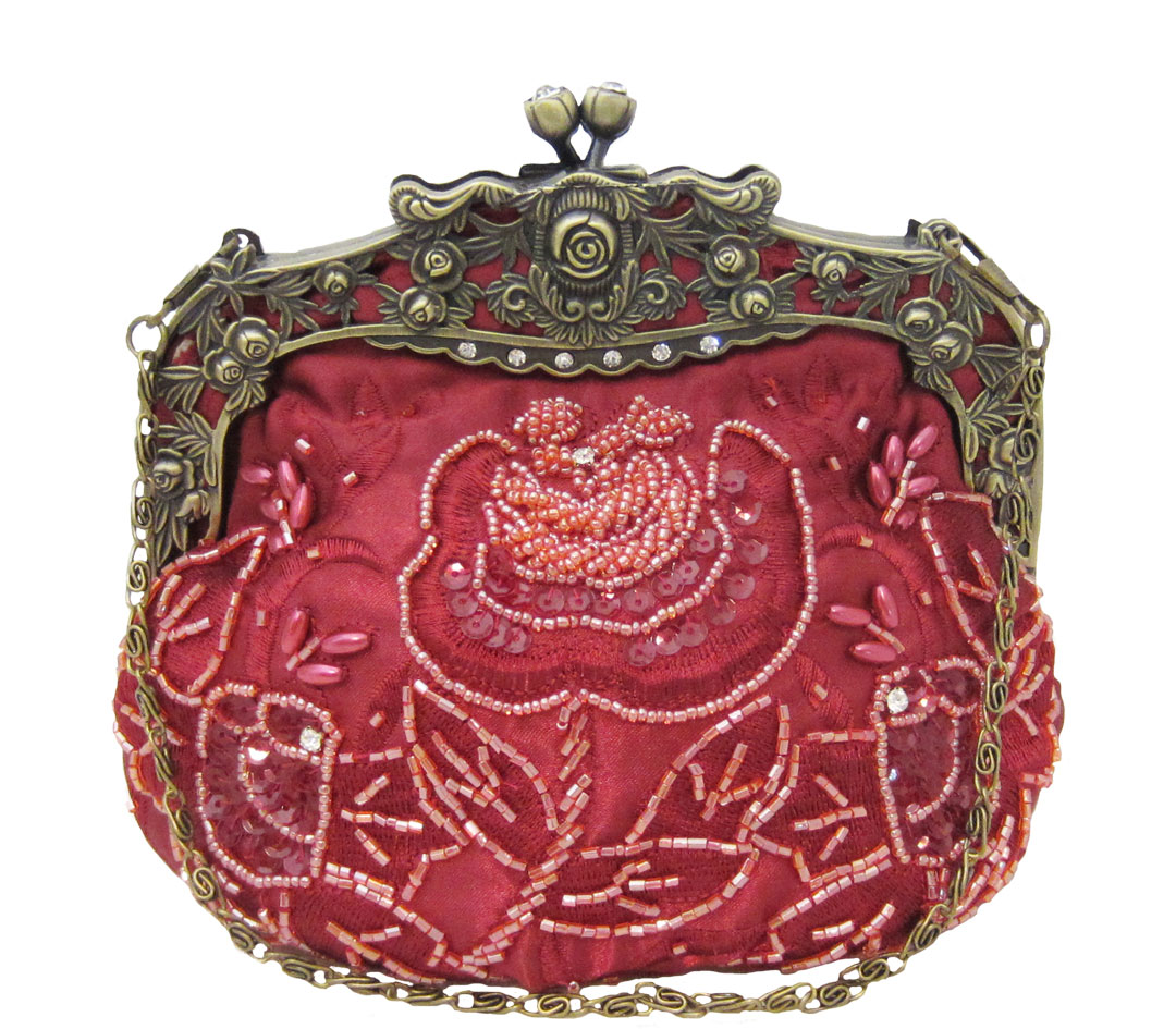 Vintage Style Beaded Handbag - Red