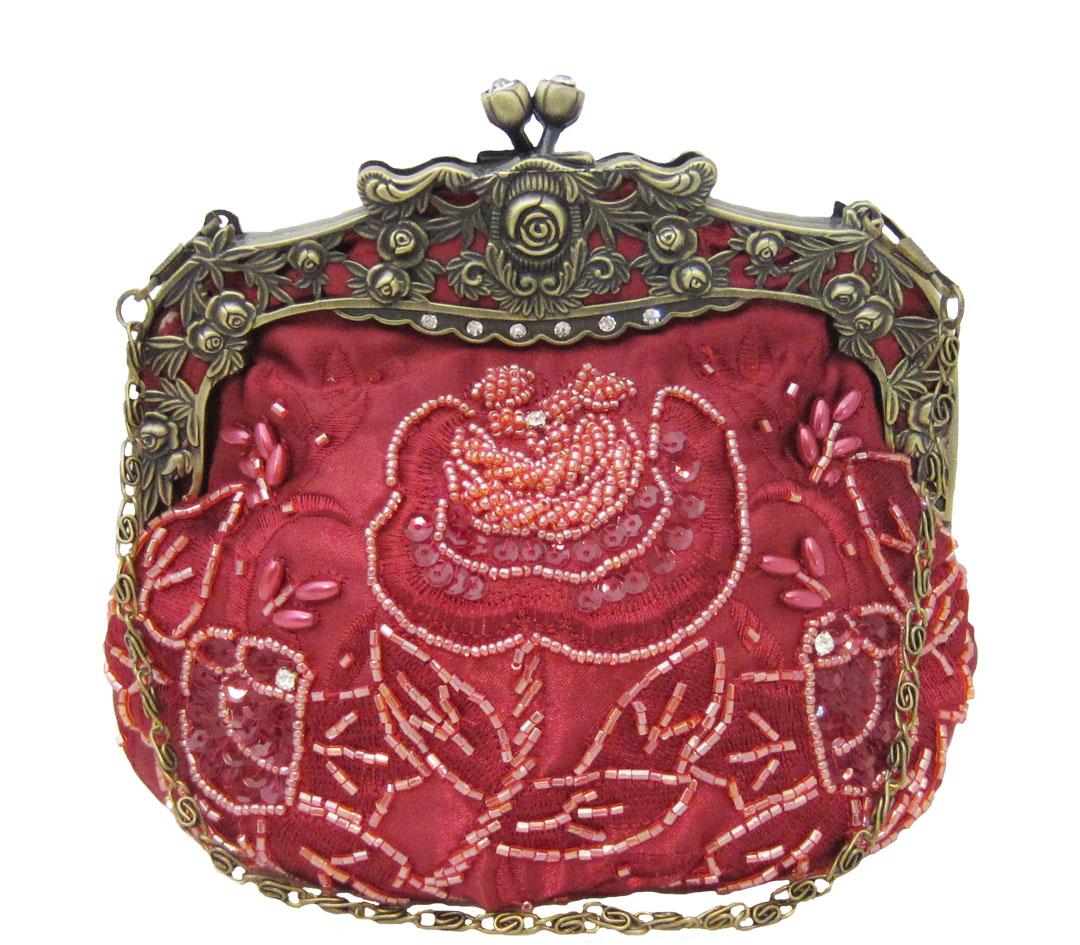 Vintage Style Beaded Handbag Red