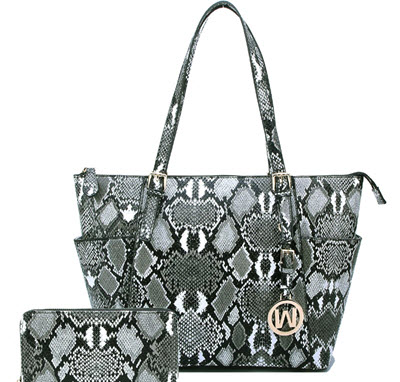 Python Snake Tote Style Purse with Matching Wallet - Black