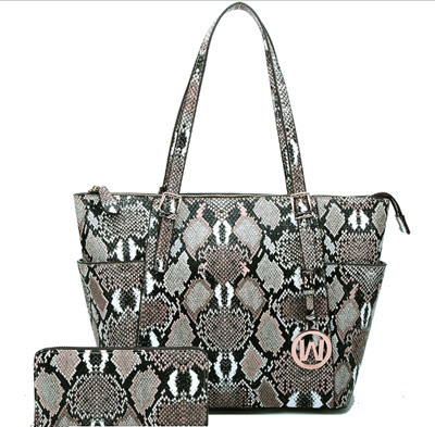 Python Snake Tote Style Purse with Matching Wallet - Tan