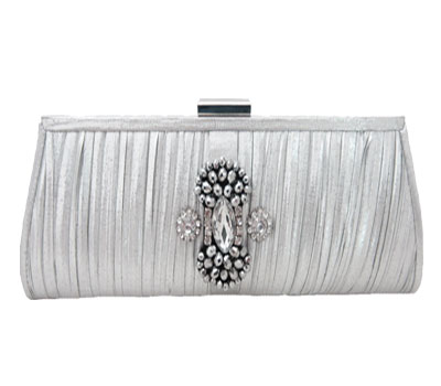 Pleated Silver Lame' Rhinestone Evening Bag