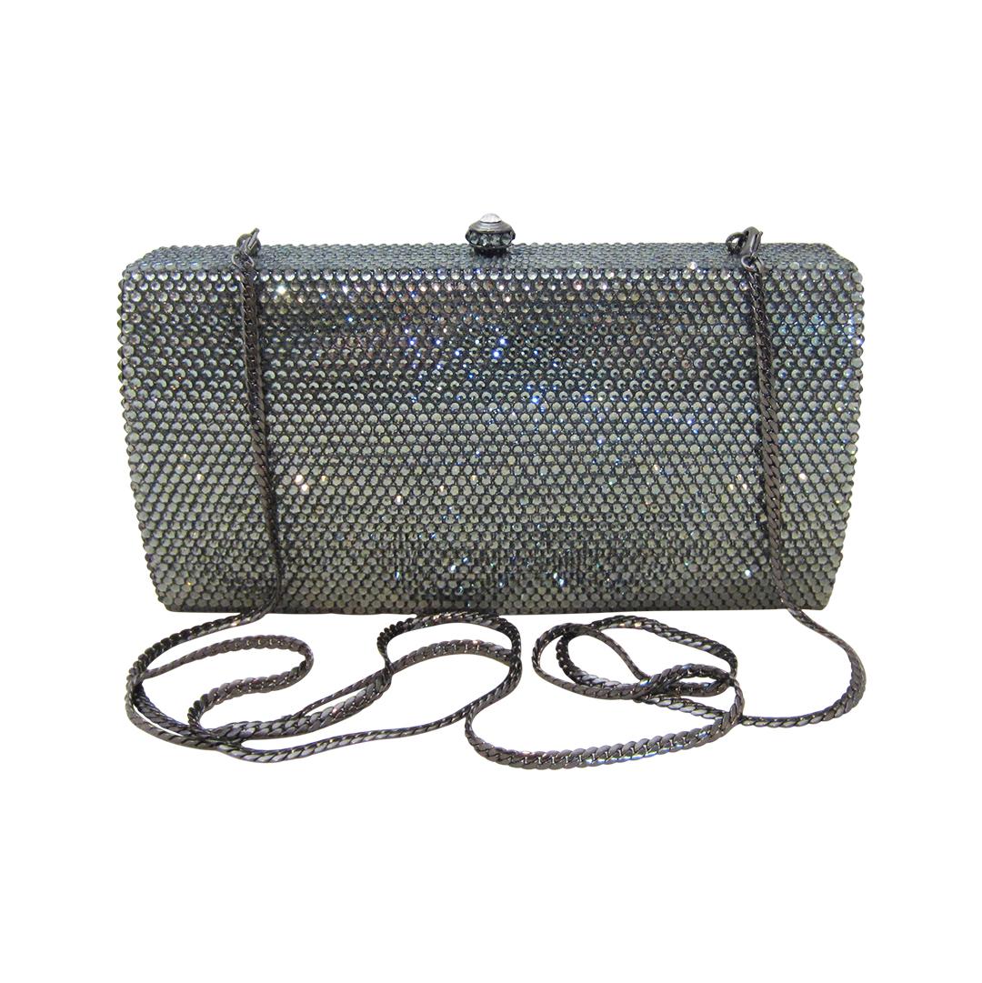 Anthony David Handbag With Swarovski Crystal Classica Pewter Gray