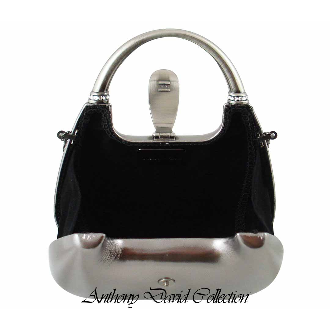 Pewter Gray Top Handle Evening Bag