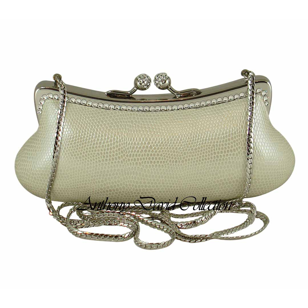 Cream Genuine Leather Clutch Purse with Silver Metal